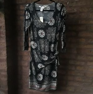 Max Studio Dress Beautiful Blk Turq Print NWT Sz L